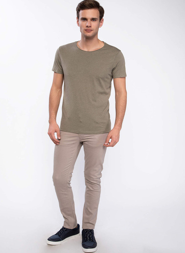 DeFacto Slim Fit Basic T-shirt Haki